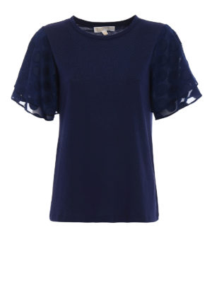 Michael Kors: t-shirts - Polka dot sleeved blue T-shirt