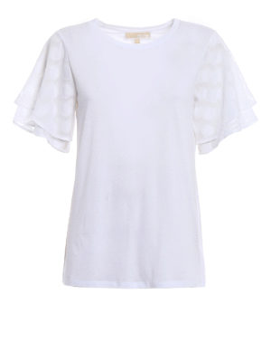Michael Kors: t-shirts - Polka dot sleeved white T-shirt