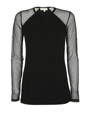 MICHAEL KORS: t-shirt - T-shirt con maniche in tulle a pois