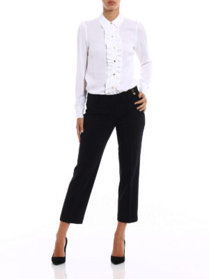 Michael Kors: Tailored & Formal trousers online - Light black wool crop trousers