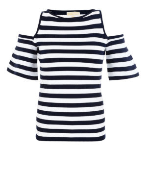 MICHAEL KORS: Top e canotte - Top cut out in jersey a righe