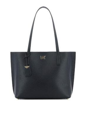MICHAEL KORS: shopper - Borsa shopper Ana in pelle a grana blu scuro