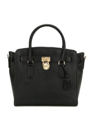 Michael Kors: totes bags - Hamilton grainy leather satchel