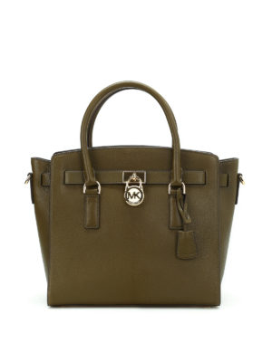 Michael Kors: totes bags - Hamilton grainy leather satchel