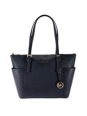 Michael Kors: totes bags - Jet Set top zip blue saffiano tote