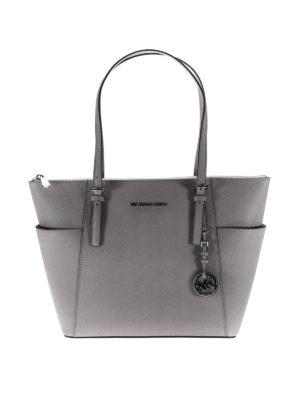 Michael Kors: totes bags - Jet Set top zip grey saffiano bag