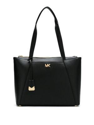 MICHAEL KORS: shopper - Shopper Maddie media in pelle a grana nera