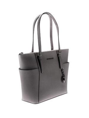 Michael Kors: totes bags online - Jet Set top zip grey saffiano bag