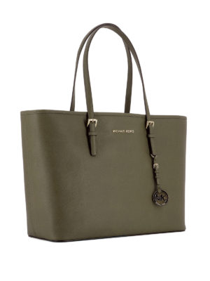 Michael Kors: totes bags online - Jet Set Travel M dark green tote