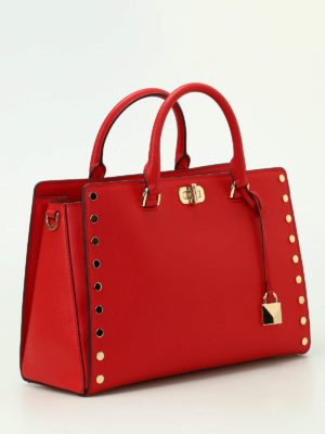 Michael Kors: totes bags online - Sylvie Stud red leather large tote