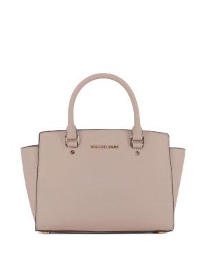 MICHAEL KORS: shopper - Shopper Selma media in saffiano rosa con zip