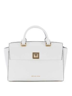 95891daf2a MICHAEL KORS: shopper - Borsa Sylvia M in pelle a grana bianca