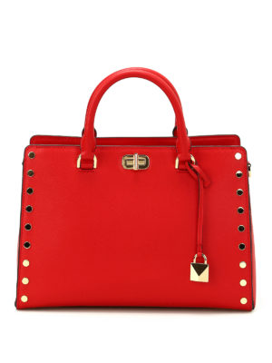 Michael Kors: totes bags - Sylvie Stud red leather large tote
