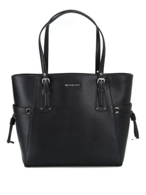 MICHAEL KORS: shopper - Tote nera in pelle Voyager