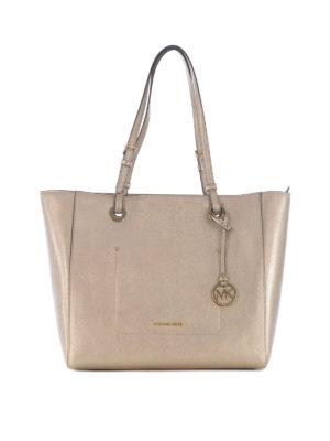 Michael Kors: totes bags - Walsh top zip metallic large tote