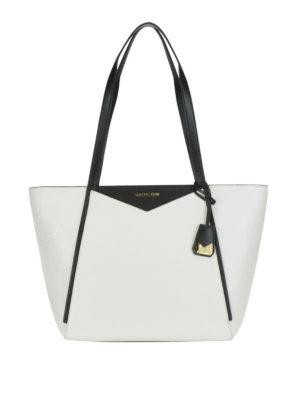MICHAEL KORS: shopper - Shopper Whitney L bianca e nera