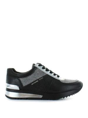 MICHAEL KORS: sneakers - Sneaker Allie in pelle nera e lurex argento