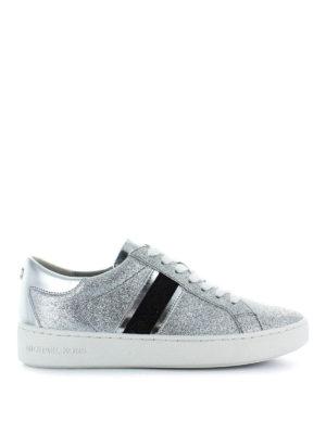 MICHAEL KORS: sneakers - Sneaker in pelle glitterata Keaton Stripe