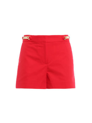 Michael Kors: Trousers Shorts - Chain detailed red shorts