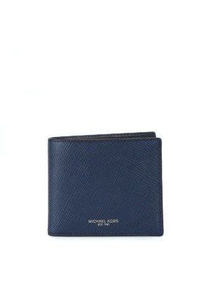 MICHAEL KORS: portafogli - Portafoglio bi-fold Harrison in saffiano blu