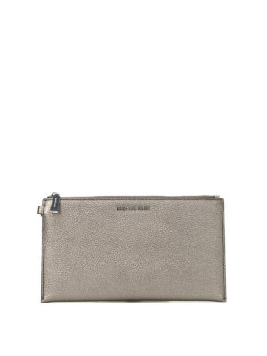 Michael Kors: wallets & purses - Wristlet gun metal flat purse