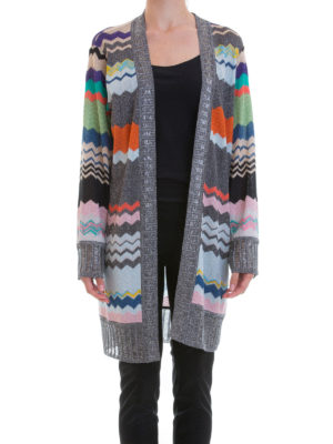 Missoni: cardigans online - Chevron pattern open front cardigan
