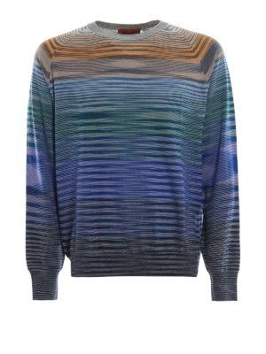MISSONI: maglia collo rotondo - Maglia girocollo in lana a righe multicolor