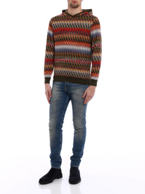 Missoni: crew necks online - Chevron cotton and wool sweater