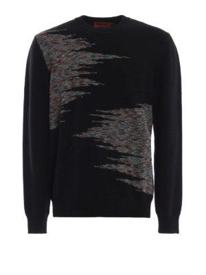 MISSONI: maglia collo rotondo - Pull in lana nera con intarsi fantasia
