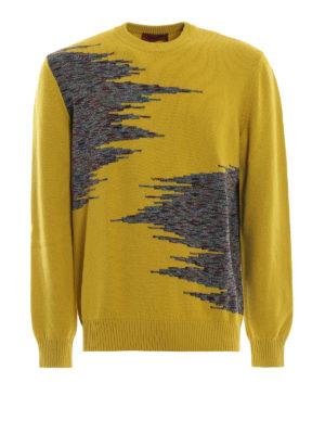 MISSONI: maglia collo rotondo - Pull in lana senape con intarsi fantasia