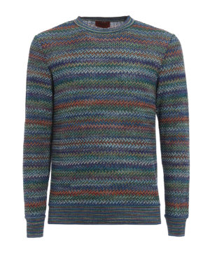 Missoni: crew necks - Zigzag cotton blend sweater