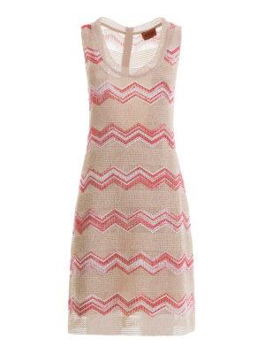 Missoni: knee length dresses - Chevron pattern nude flared dress