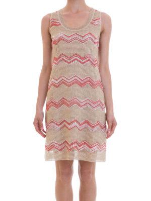 Missoni: knee length dresses online - Chevron pattern nude flared dress