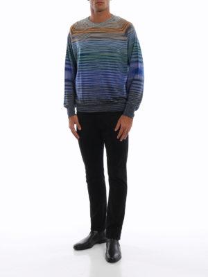 MISSONI: maglia collo rotondo online - Maglia girocollo in lana a righe multicolor