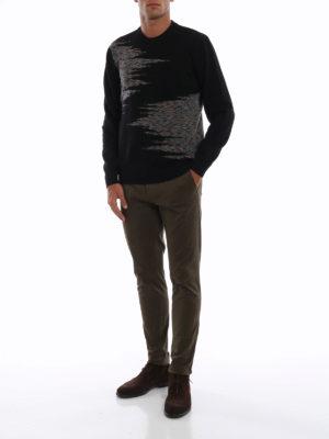 MISSONI: maglia collo rotondo online - Pull in lana nera con intarsi fantasia
