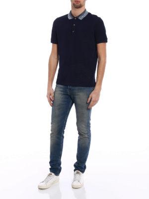 Missoni: polo shirts online - Striped collar blue polo