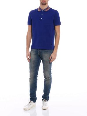 Missoni: polo shirts online - Striped collar royal blue polo