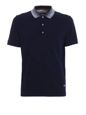 Missoni: polo shirts - Striped collar blue polo