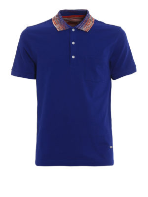 Missoni: polo shirts - Striped collar royal blue polo