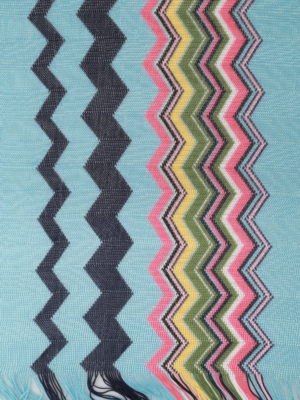 Missoni: scarves online - Sky and coloured wave knit scarf