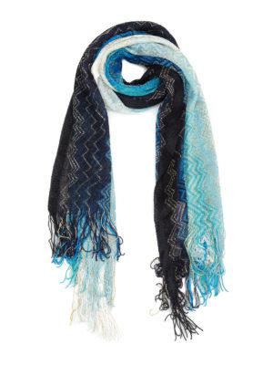 Missoni: scarves - Shimmering chevron fringed scarf
