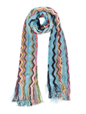 Missoni: scarves - Sky and coloured wave knit scarf