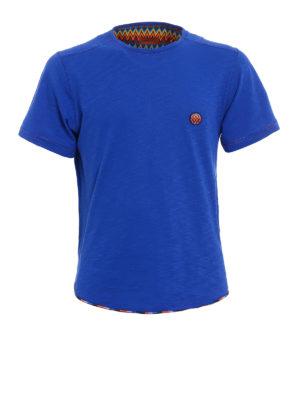 Missoni: t-shirts - Multicolour patch blue T-shirt