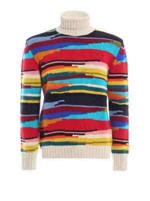 MISSONI: maglia a collo alto e polo - Dolcevita in pesante lana a righe multicolor
