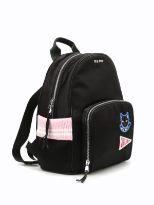 Miu Miu: backpacks online - Patch and knit details backpack