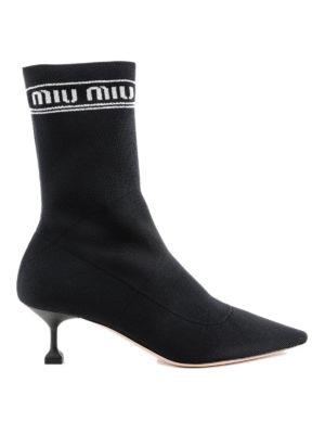 MIU MIU: stivali - Stivali slip-on a calza in tessuto stretch