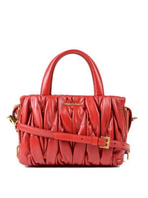 Miu Miu: bowling bags - Matelassé leather handbag