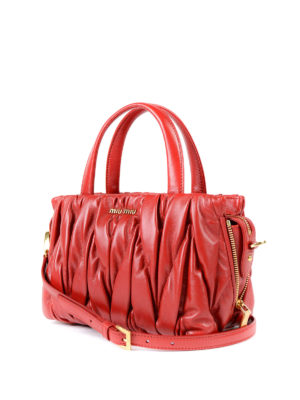 Miu Miu: bowling bags online - Matelassé leather handbag
