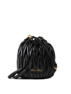 Miu Miu: Bucket bags - Black matelassé leather bucket bag