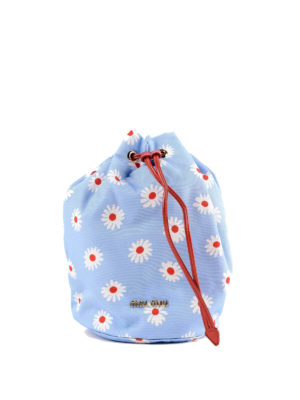 MIU MIU: Secchielli - Secchiello in nylon azzurro stampa margherite